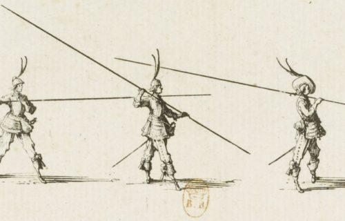 [Les exercices militaires]. [7], [L'exercice de la lance horizontale] : [estampe] / [Jacques Callot]